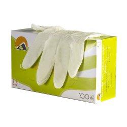 Перчатки смотровые латексные опудренные, гладкие ALBENS 7001