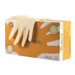 Перчатки смотровые латексные неопудренные, однократного хлорирования, гладкие ALBENS  7011