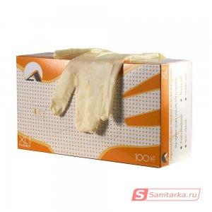 Перчатки смотровые латексные неопудренные, однократного хлорирования, текстурированные ALBENS  7013