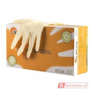 Перчатки смотровые латексные неопудренные, с полимерным покрытием, гладкие ALBENS  7019