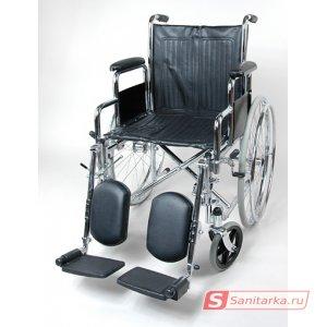 Инвалидная кресло коляска со съемными подлокотниками и съемными, регулируемыми по углу наклона подножками 1618C0304
